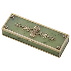 Antique Early 20th Century Russian Faberge Solid Silver-Gilt & Nephrite Box 1899