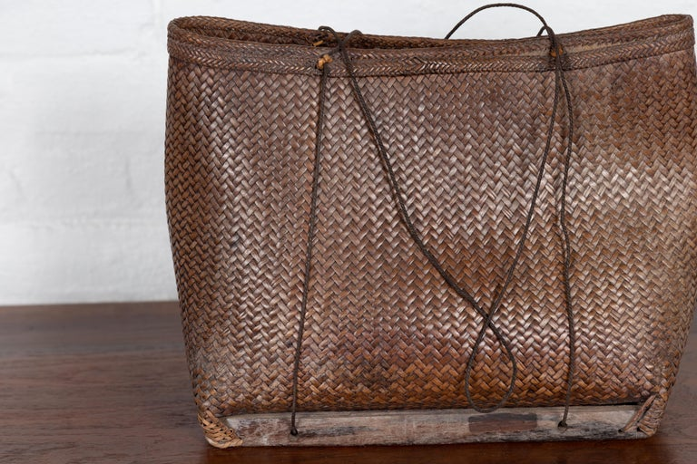 Rustic Antique Early 20th Century Small Woven Grain Basket from the Philippines For Sale