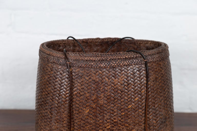Hand-Woven Antique Early 20th Century Small Woven Grain Basket from the Philippines For Sale