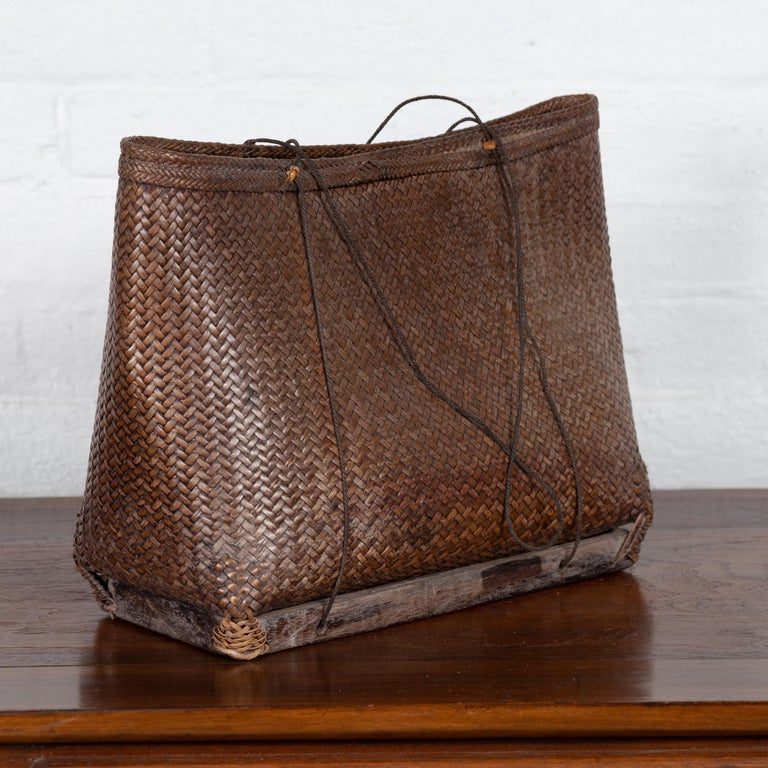 Rattan Antique Early 20th Century Small Woven Grain Basket from the Philippines For Sale