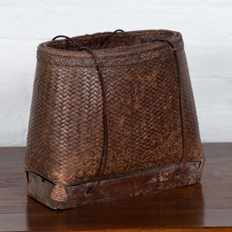 Antique Early 20th Century Small Woven Grain Basket from the Philippines In Fair Condition For Sale In Yonkers, NY