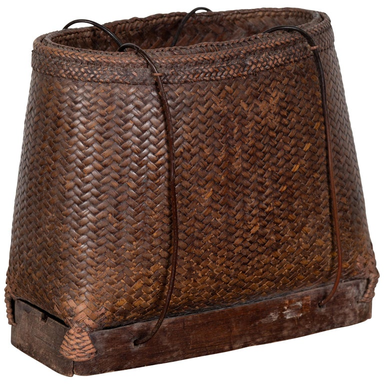 Antique Early 20th Century Small Woven Grain Basket from the Philippines For Sale