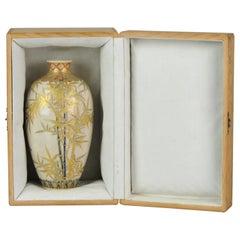 Antique Early 20th C Japanese Ijyuin Satsuma Vase Japan Bamboo Meiji Period