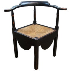 Antique Early American Colonial Ebonized Pine Corner Chair Woven Rush Seat