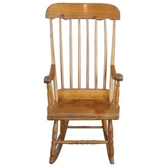 Antique Early American Country Farmhouse Pine Spindle Back Rocking Chair