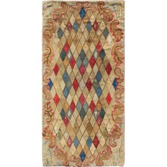 Antique Early American Hooked Rug in Diamond Design in Multi Colors