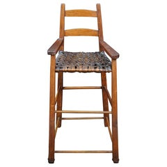 Antique Early American Pine and Woven Rattan Shaker High Chair Child Doll Seat