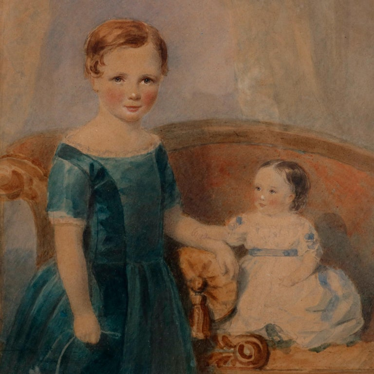 An early American watercolor portrait painting depicts a young siblings in parlor setting