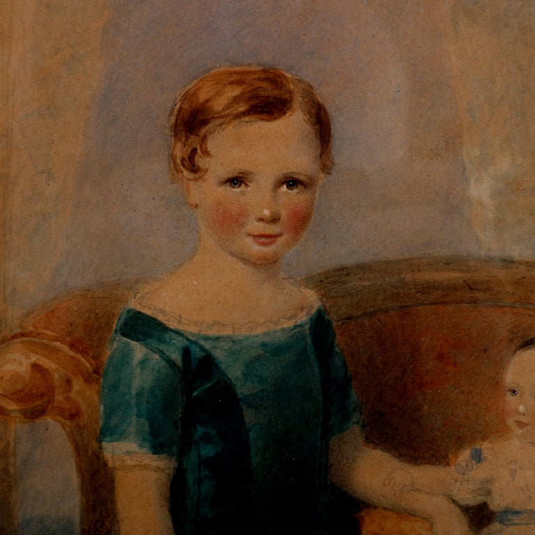 Early Victorian Early American Watercolor Portrait Painting of Child Siblings, circa 1840 For Sale