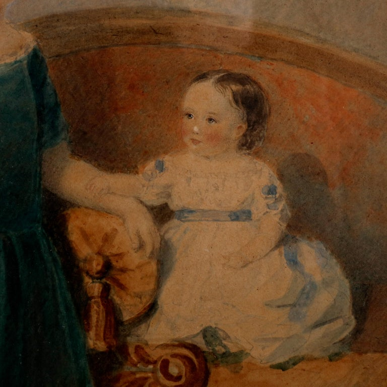 Gilt Early American Watercolor Portrait Painting of Child Siblings, circa 1840 For Sale