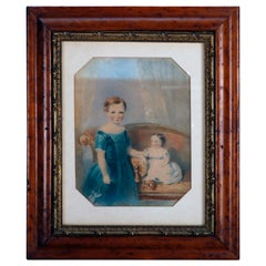 Early American Watercolor Portrait Painting of Child Siblings, circa 1840
