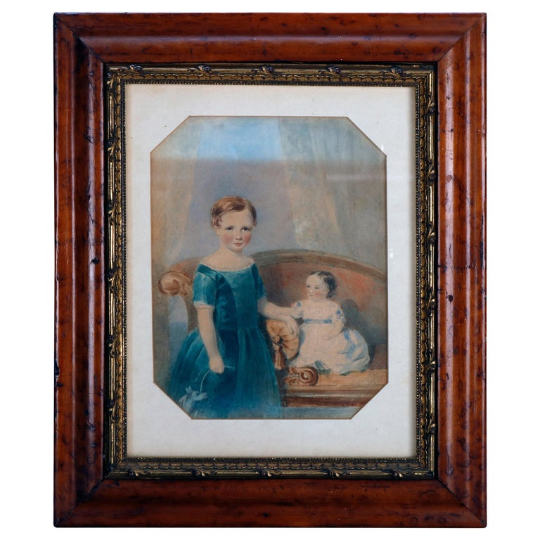 Early American Watercolor Portrait Painting of Child Siblings, circa 1840 For Sale