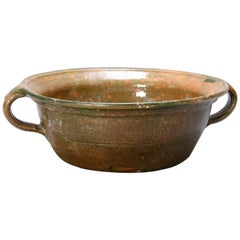 Early Americana Handcrafted Green Glazed Stoneware Food Strainer, circa 1830