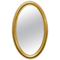 Antique Early Large Oval Giltwood Wall Mirror, circa 1830