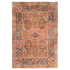 Antique Early Spanish Arts & Crafts Red and Blue Wool Rug
