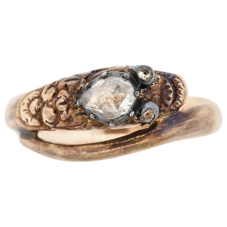 Antique Early Victorian 18 Karat Gold Rosecut Diamond Snake Ring For Sale