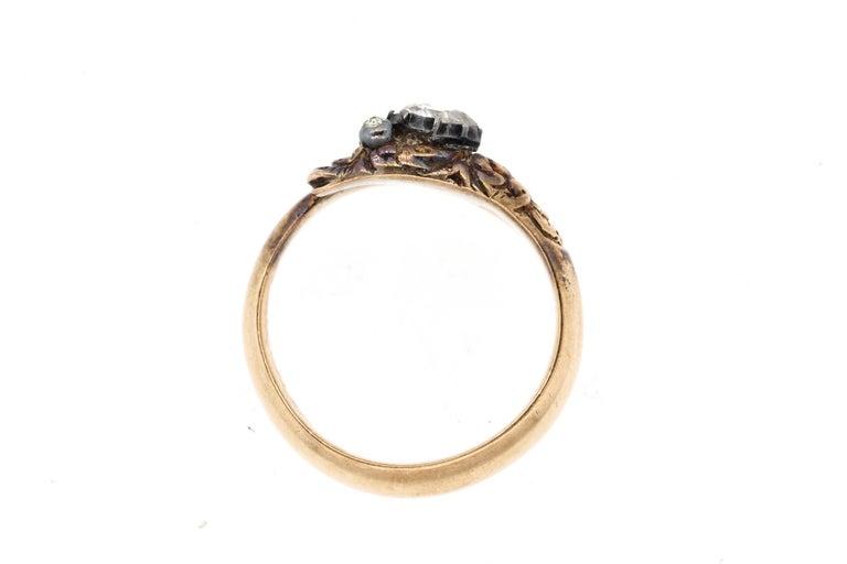 Women's or Men's Antique Early Victorian 18 Karat Gold Rosecut Diamond Snake Ring For Sale
