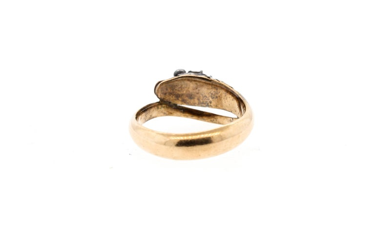 Antique Early Victorian 18 Karat Gold Rosecut Diamond Snake Ring For Sale 1