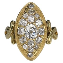 Antique Early Victorian 18K Yellow Gold Old Mine Cut Diamond Navette Ring
