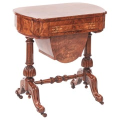 Antique Early Victorian 19th Century Inlaid Burr Walnut Writing or Sewing Table