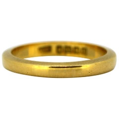Antique Early Victorian 22 Karat Yellow Gold Wedding Ring Band, Birmingham, 1851