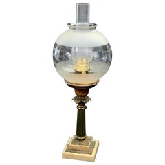 Antique Early Victorian Brass, Marble and Etched Glass Solar Lamp, 19th Century