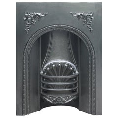 Antique Early Victorian Cast Iron Arched Fireplace Grate
