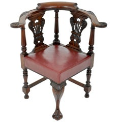 Antique Early Victorian Chippendale Mahogany Carved Corner Chair, circa 1845