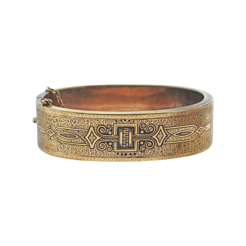 Antique Early Victorian Circa 1870s Enamel Gold Bangle Bracelet