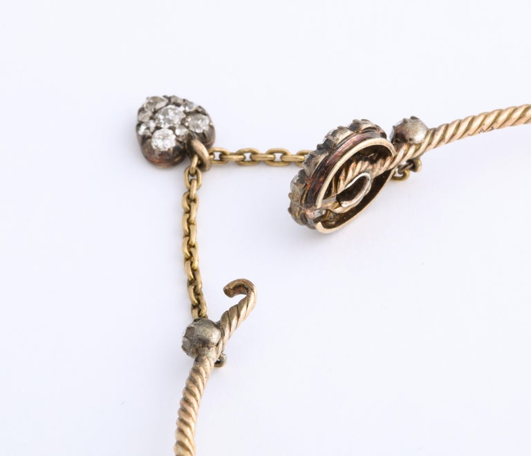 Antique Early Victorian Diamond Bracelet with Heart Drop For Sale 3