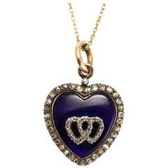 Antique Early Victorian Diamond Enamel Double Heart Pendant