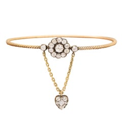 Antique Early Victorian Diamond Flower and Heart Bangle
