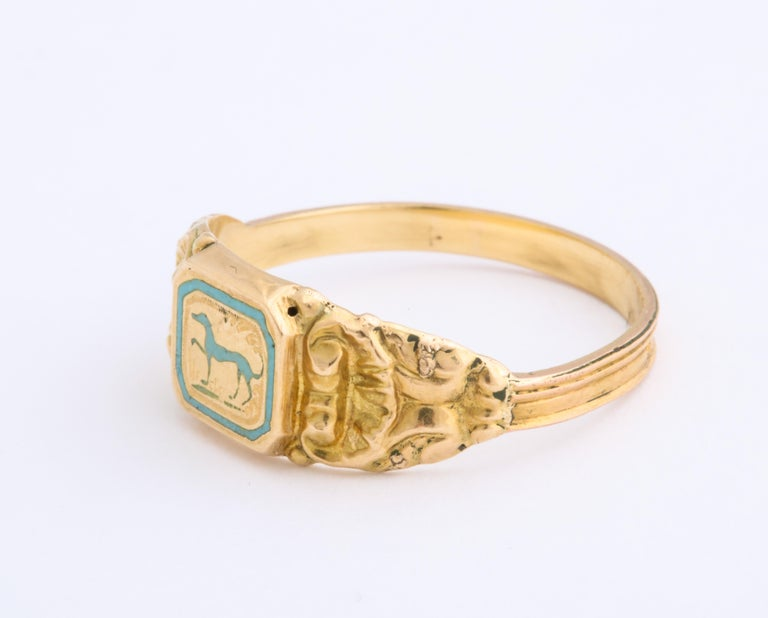 Women's or Men's Antique Early Victorian French Prancing Hound Ring For Sale