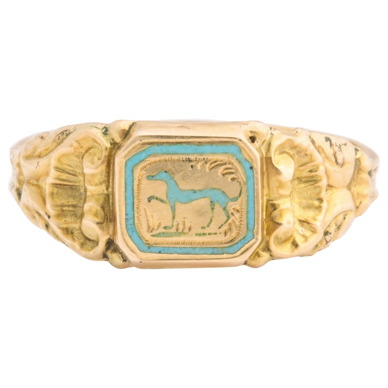 Antique Early Victorian French Prancing Hound Ring For Sale