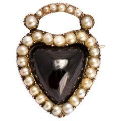 Antique Early Victorian Garnet Heart Padlock Brooch