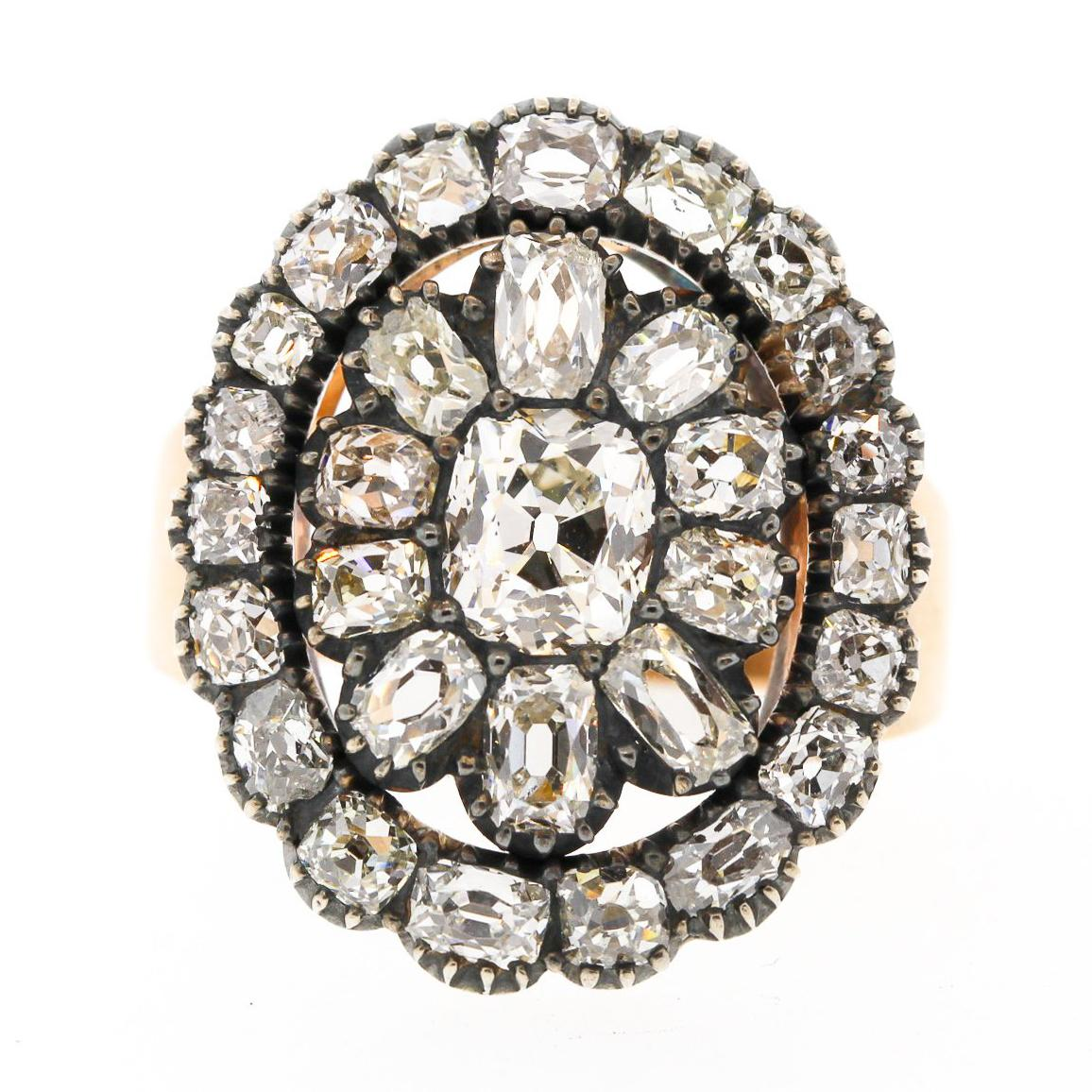 Antique Early Victorian Old Mine Cut Diamond Gold Cluster Ring