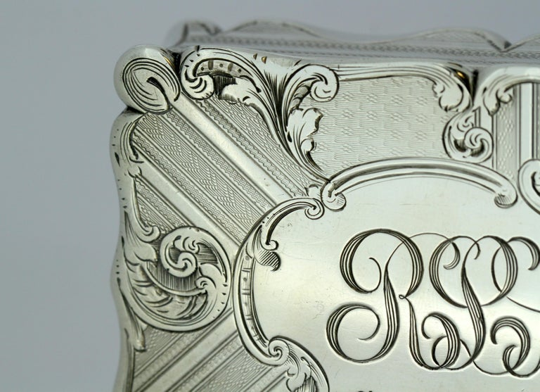 Antique Early Victorian Sterling Silver Cigarette Box, Birmingham, 1848 For Sale 6