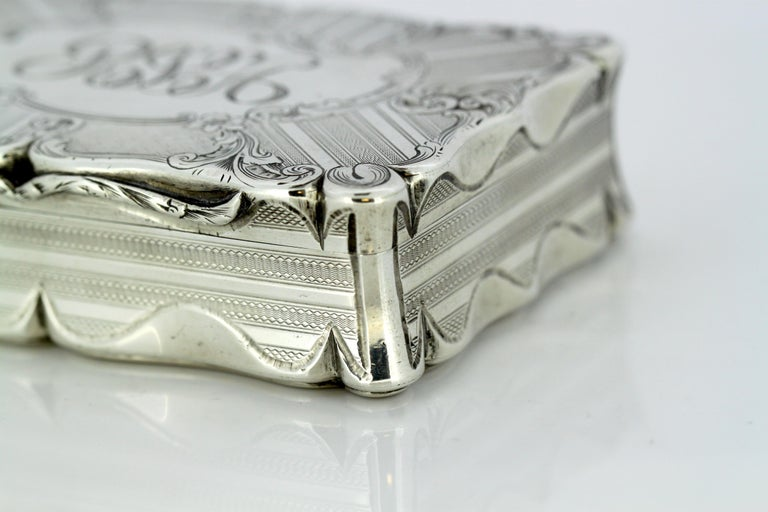 Antique Early Victorian Sterling Silver Cigarette Box, Birmingham, 1848 For Sale 7