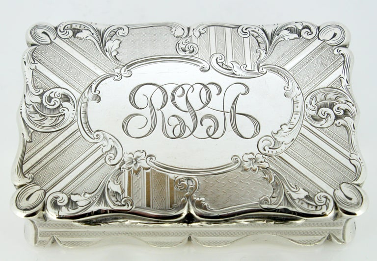 Antique early Victorian sterling silver cigarette box. Made in Birmingham 1848 Maker: Edward Smith  Dimensions: 9 x 5.8 x 2.3 cm Weight: 174 grams  Condition: Minor wear and tear, no damage, excellent condition.