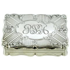 Antique Early Victorian Sterling Silver Cigarette Box, Birmingham, 1848