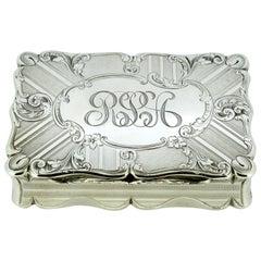 Antique Early Victorian Sterling Silver Cigarette Box, Birmingham, 1848
