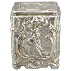 Antique Early Victorian Sterling Silver Tea Caddy, Joseph Angell, London, 1840