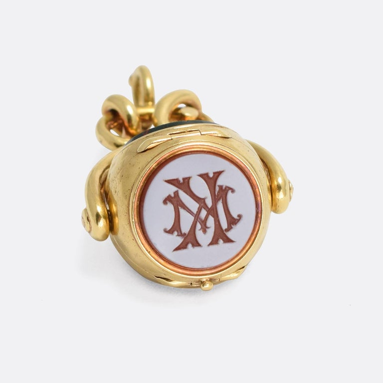 Women's or Men's Antique Early Victorian Three Seal Spinner Locket Fob Necklace For Sale