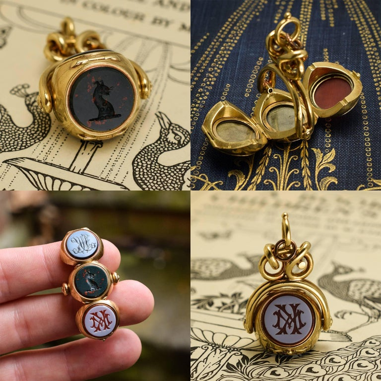 Antique Early Victorian Three Seal Spinner Locket Fob Necklace For Sale 5
