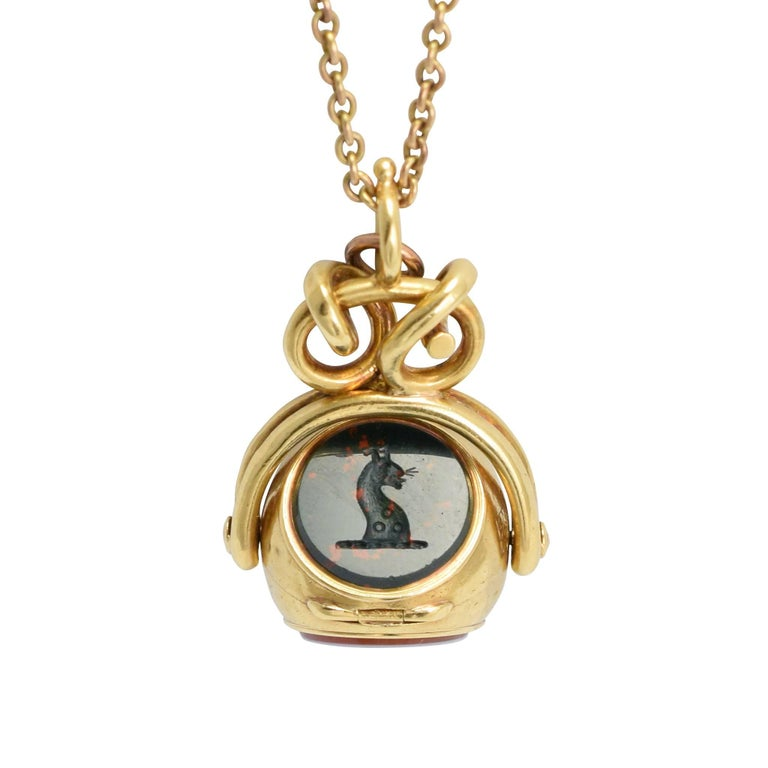 Antique Early Victorian Three Seal Spinner Locket Fob Necklace For Sale