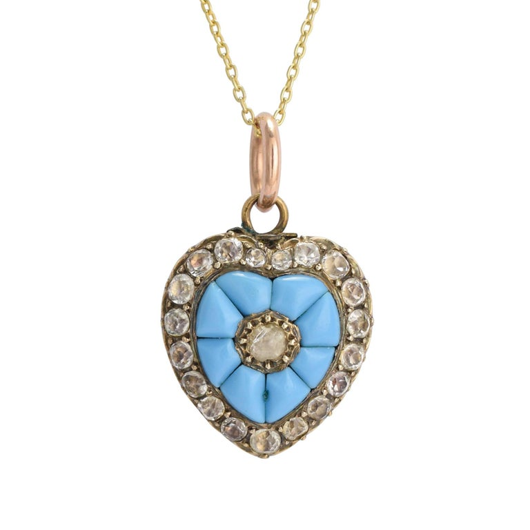 Antique Early Victorian Turquoise Heart Pendant Necklace
