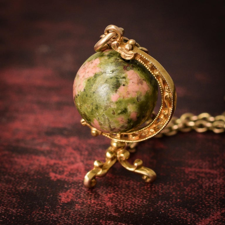 Women's Antique Early Victorian Unakite Jasper Spinning Globe Pendant For Sale