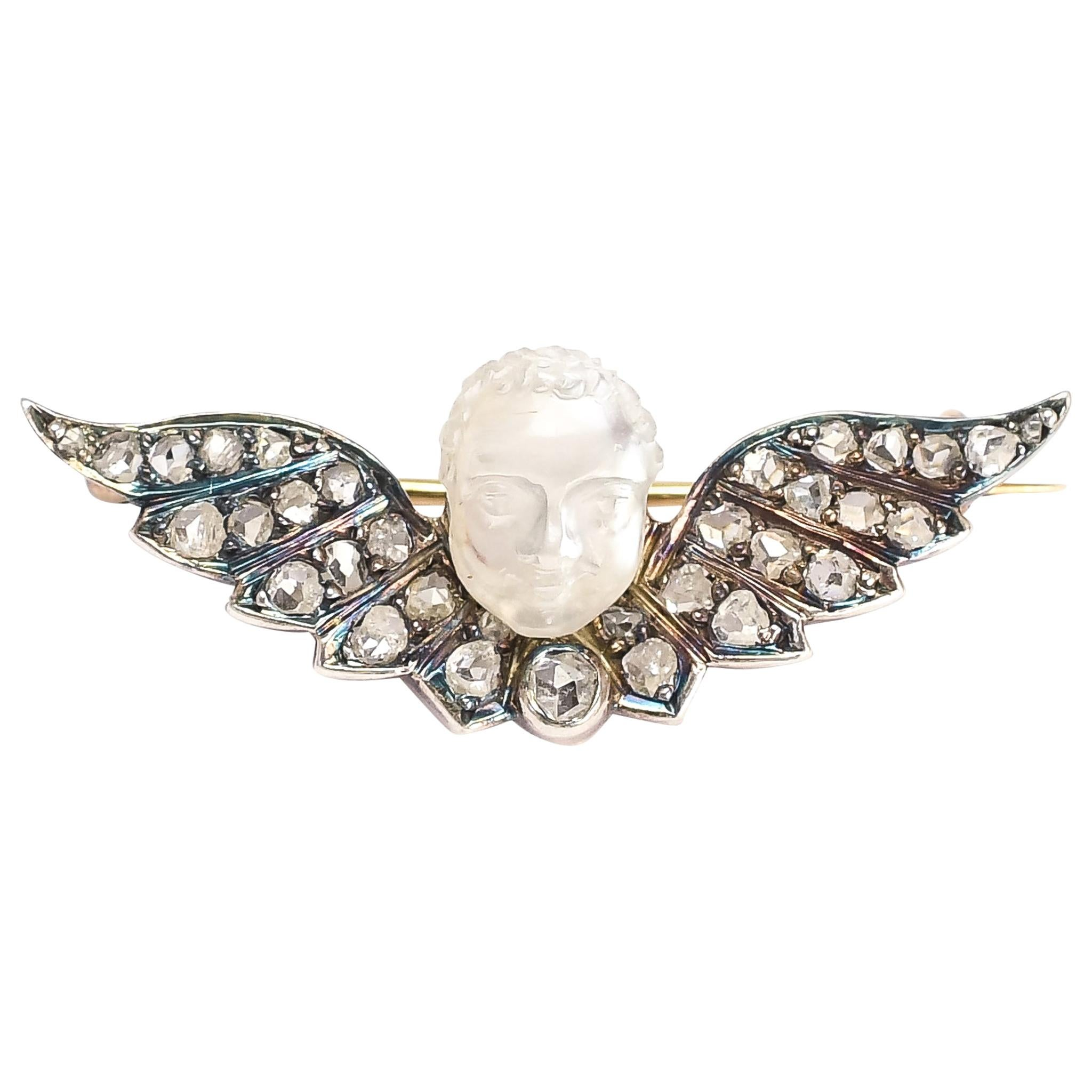 Antique Early Victorian Winged Man-in-the-Moonstone Brooch