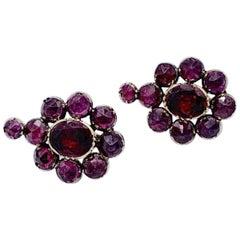 Antique Almandine Garnet Flower Gold Earrings France