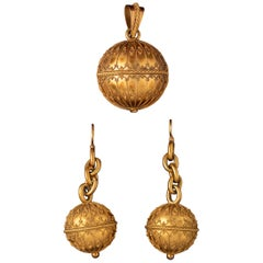 Antique Earrings and Pendant by Marret & Jarry, Paris